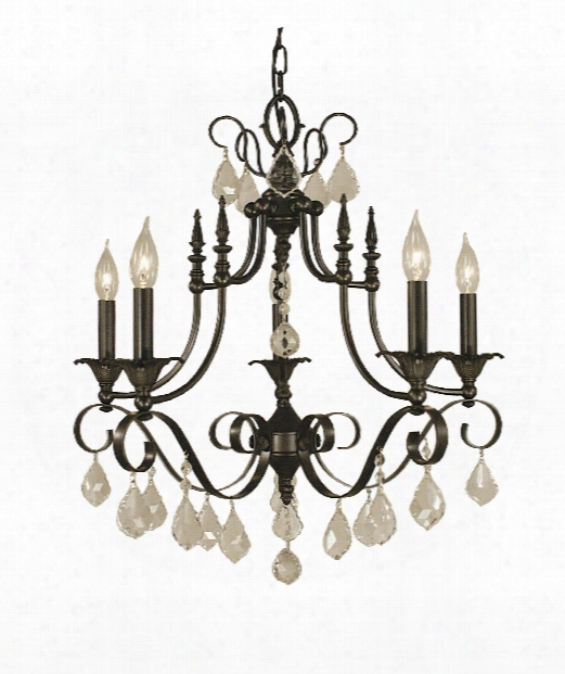 "Liebestraum 24"" 6 Light Chandelier In Brushed Nickel"