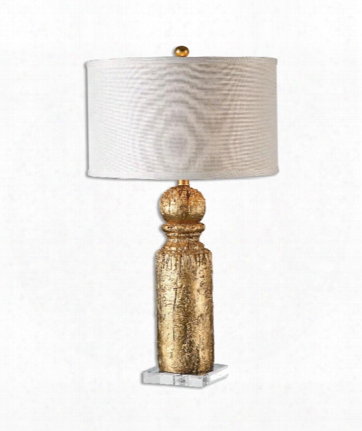 "Lorenzello 16"" 1 Light Tbale Lamp In Antique Gold Leaf"