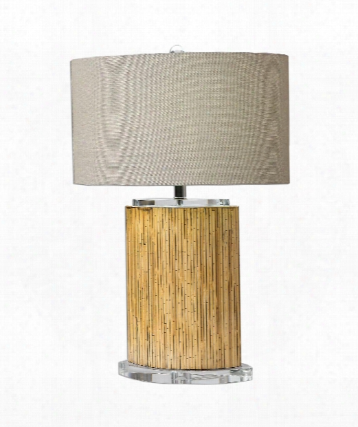 "Lurago 18"" 1 Light Table Lamp In Stripped Bamboo"