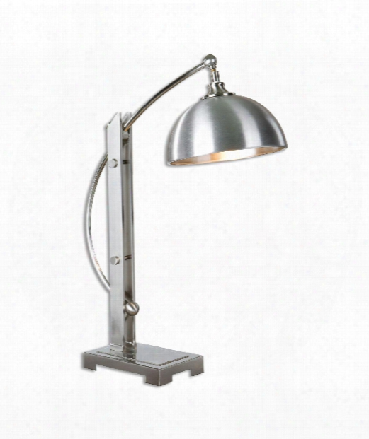 Malcolm 1 Light Desk Lamp In Plateed Brushed Nickel