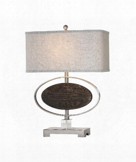 "Malik 19"" 1 Light Table Lamp In Brushed Nickel-hand Rubbed Espresso"
