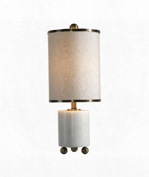 "Meelagh 9"" 1 Light Table Lamp In White With Subtle Gray Veining-plated Antiqued Brass"