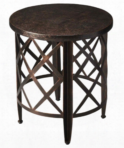 """Metalworks 22"""" End Table In Copper"""