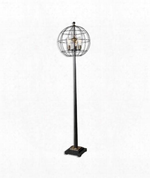 Palla 3 Light Floor Lamp In Aged Black