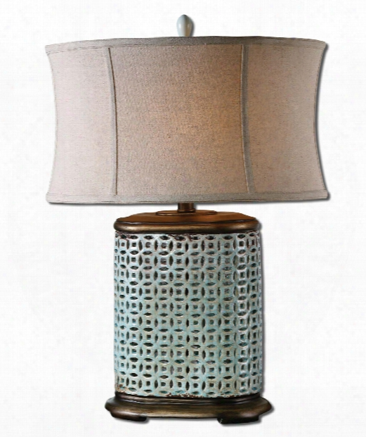 """Rosignano 20"""" 1 Light Table Lamp In Crackled Aged Blue Glaze"""