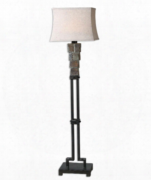 "Stacked 12"" 1 Light Floor Lamp In Matte Black Details"