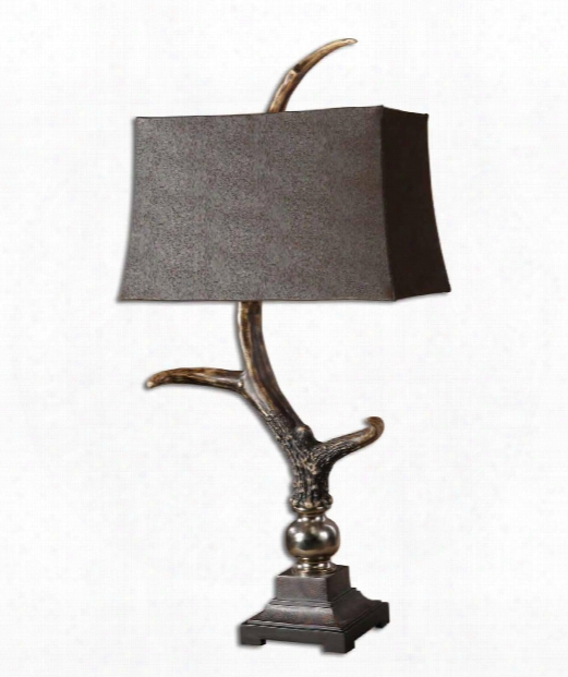 Stag Horn 1 Light Table Lamp In Burnished Bone Ivory