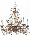 "Elegante 27"" 6 Light Chandelier in Etruscan Gold"