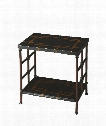 "Metalworks 15"" Accent Table in Black Fossil Stone"