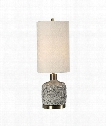 "Privola 11"" 1 Light Table Lamp in Gray-Antiqued Brass"
