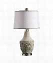 """Veteris 16"""" 1 Light Table Lamp in Aged Sage Gray With Rust Distressing-Brushed Nickel Plated"""