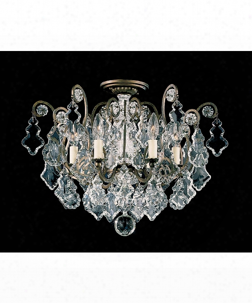 "Versailles 20"" 6 Light Semi Flush Mount In Heirloom Bronze"
