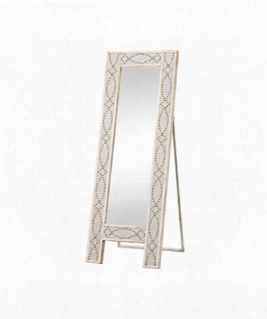 "Albiera 24"" Floor Mirror In Natural Linen And Driftwood Grey"