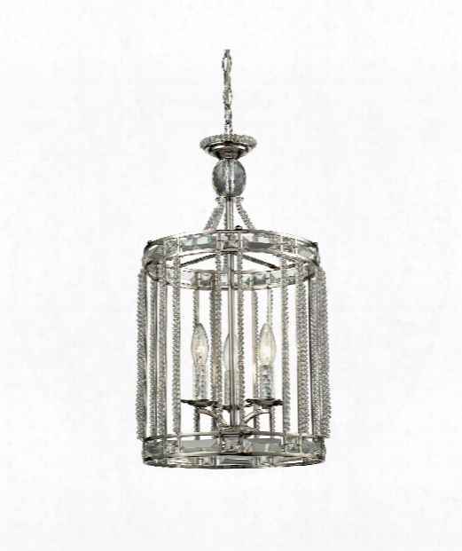 "Aubree 13"" 3 Light Foyer Pendant In Polished Nickel"