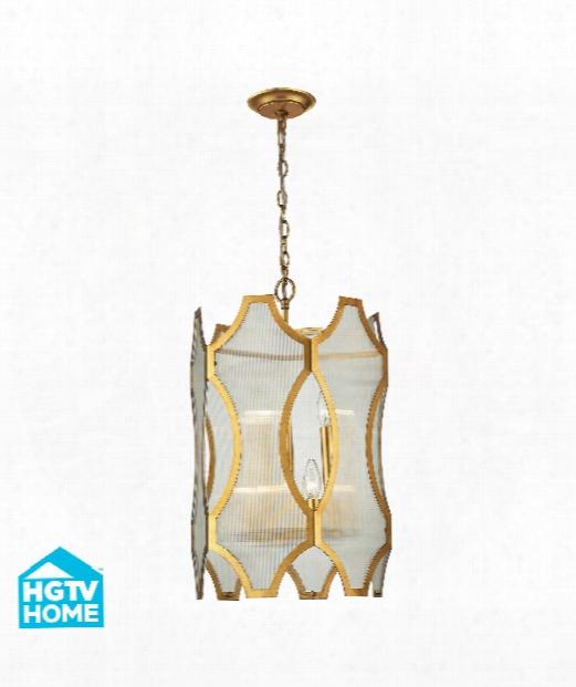 "Benicia 14"" 6 Light Large Pendant In Antique Gold Leaf"