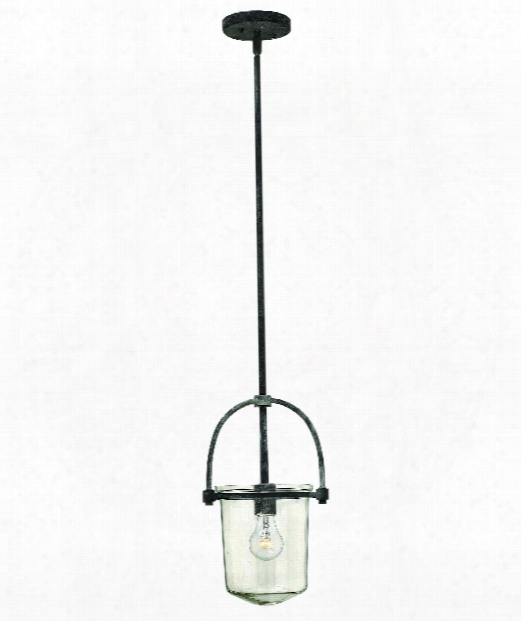 "Clancy 10"" 1 Light Mini Pendant In Aged Zinc"