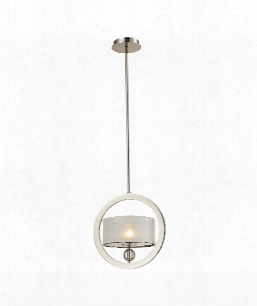 "Corisande 12"" 1 Light Large Pendant In Polished Nickel"