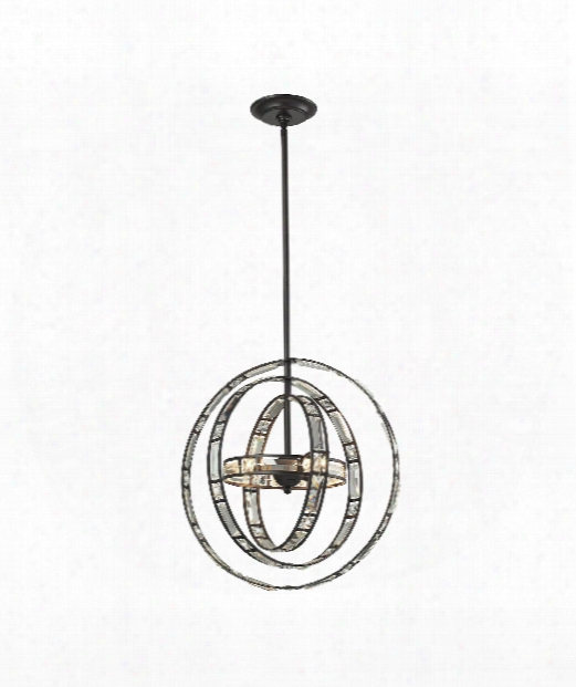 """Crystal Orbs 17"""" 3 Light Large Pendant In Oil Rubbed Bronze"""