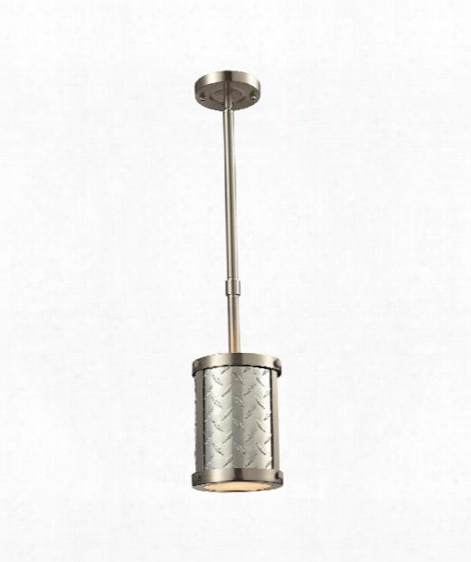 "Diamond Plate 4"" 1 Light Mini Pendant In Brushed Nickel"