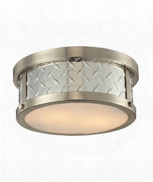 "Diamond Plate 4"" 2 Light Flush Mount In Brushed Nickel"