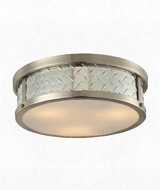 "Diamond Plate 6"" 3 Light Flush Mount In Brushed Nickel"