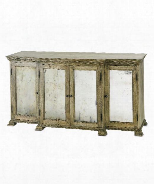 "Ellis 67"" Console Cabinet In Natural Wood-black Patina-antique Mirror"
