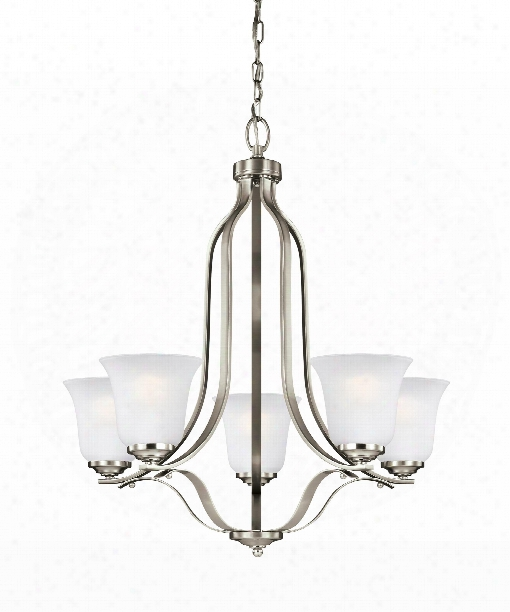 "Emmons 24"" 5 Light Chandelier In Brushed Nickel"