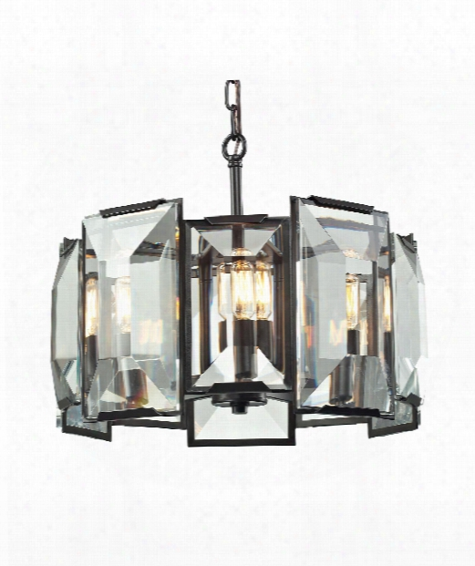"Garrett 18"" 5 Light Large Pendant In Oil Rubbed Brown"