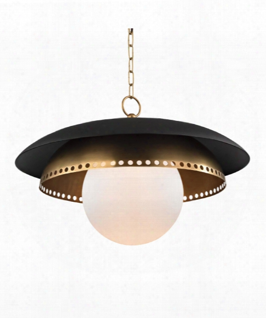 "Herikimer 26"" 1 Light Large Pendant In Aged Brass"