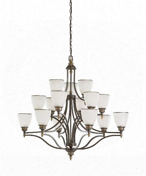 """Laurel Leaf 42"""" 15 Light Chandelier In Estate Bronze"""