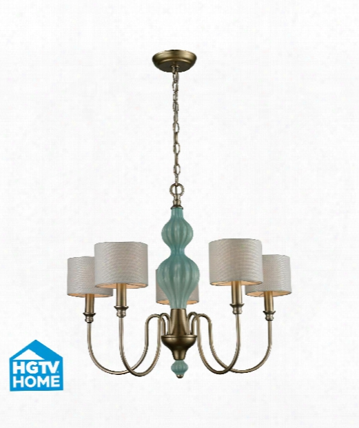 "Lilliana 26"" 5 Light Chandelier In Aged Silver"