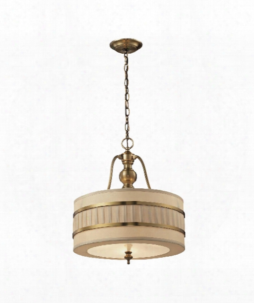 "Luxembourg 8"" 3 Light Large Pendant In Brushed Antique Brass"