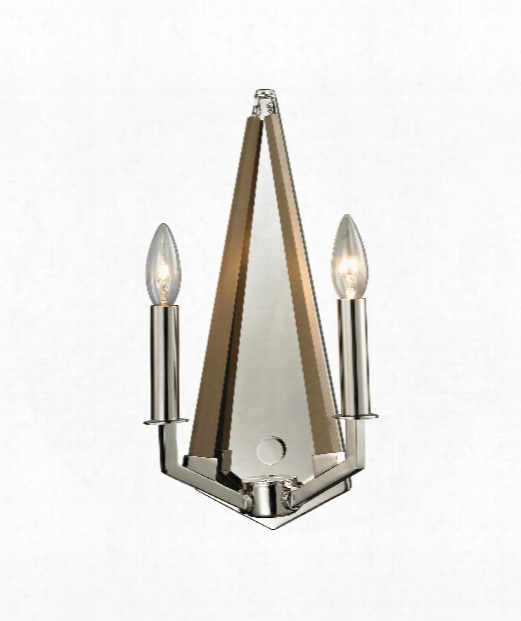 """Madera 3"""" 2 Light Wall Sconce In Polished Nickel"""