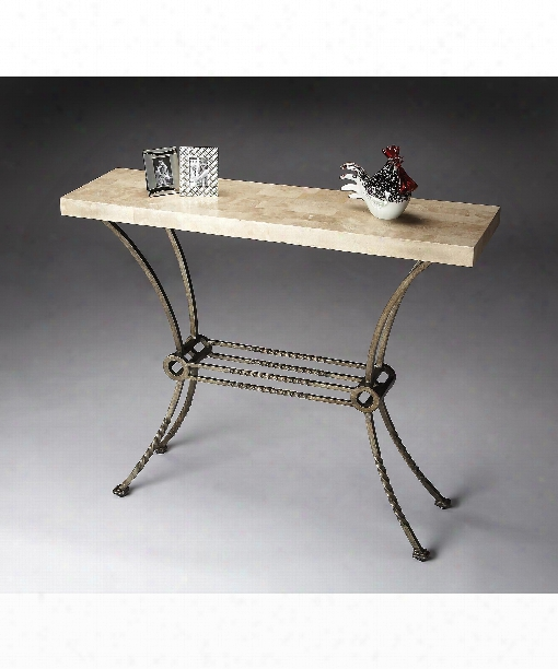 """Metalworks 42"""" Console Table In Platinum Finished Wrought Iron"""