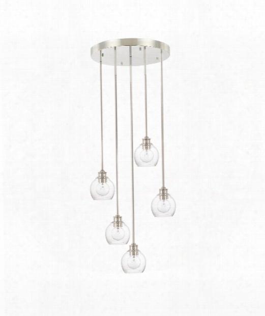 "Mid-century 22"" 5 Light Multi Pendant Light In Polished Nickel"