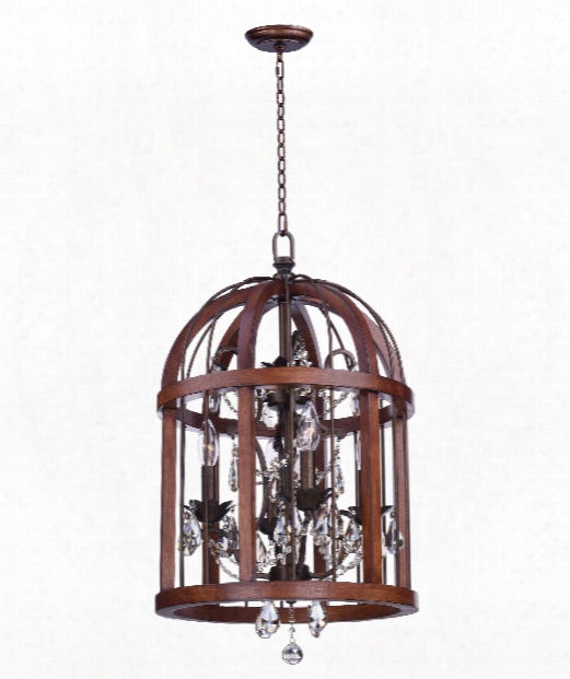 "Miranda 15"" 4 Light Large Pendant In Antique Pecan And Bay"