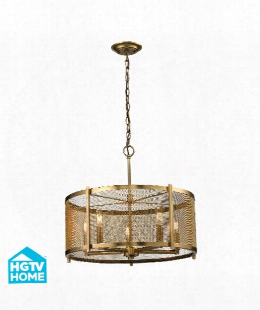 """Rialto 11"""" 5 Light Mini Chandelier In Aged Brass"""