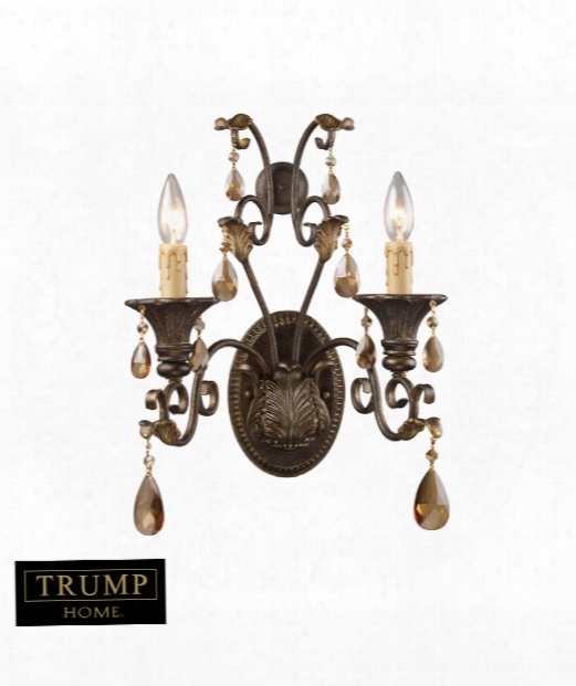 "Rochelle 12"" 2 Light Wall Sconce In Weathered Mahogany Ironwork"