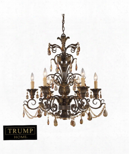 "Rochelle 28"" 6 Light Chandelier In Weathered Mahogany Ironwork"