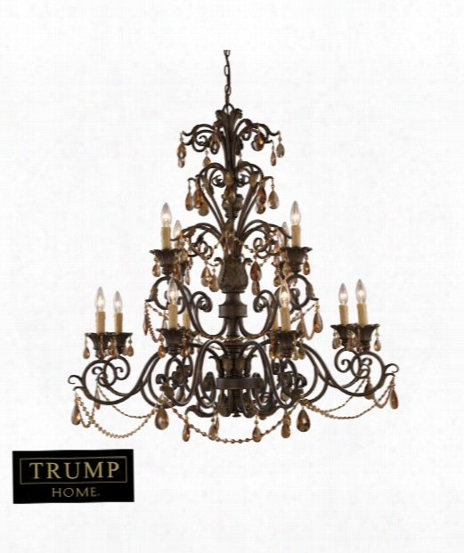 "Rochelle 42"" 12 Light Chandelier In Weathered Mahogany Ironwork"