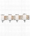 "Cashelmara 34"" 4 Light Bath Vanity Light in Chrome with Natural Shell"