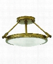 "Collier 17"" 3 Light Semi Flush Mount in Heritage Brass"