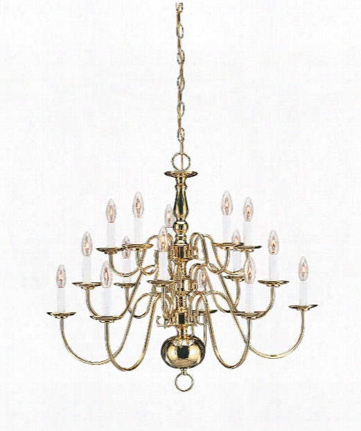 """Traditional 31"""" 15 Light Chandelier In Polished Brass"""