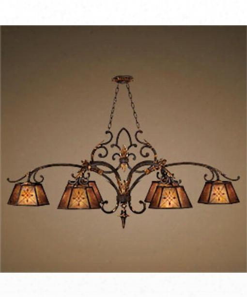 """Villa 1919 60"""" 6 Light Island Light In Warm Rich Umber"""