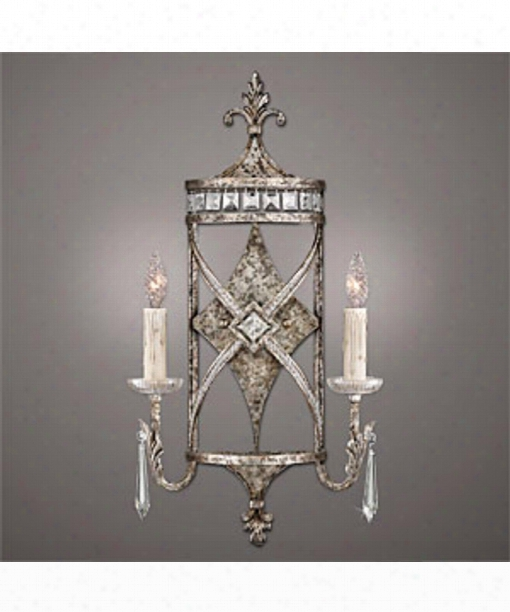 "Winter Palace 14"" 2 Light Wall Sconce In Silver Leaf"