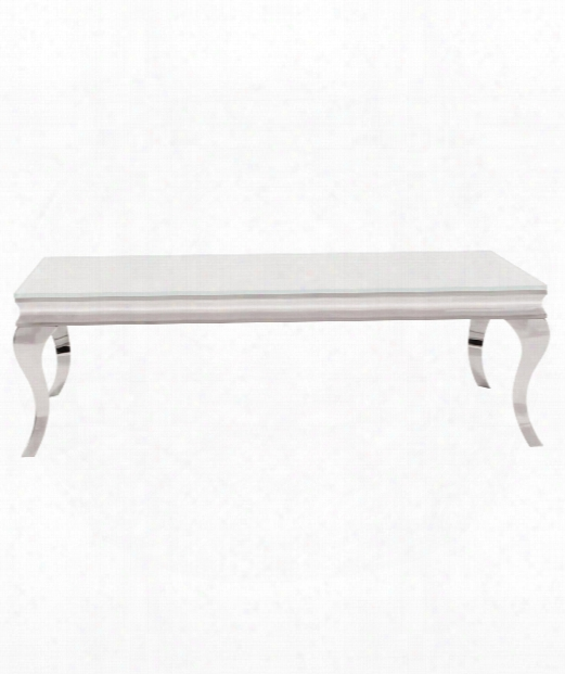 "51"" Coffee Table In Stainless Steel-white"
