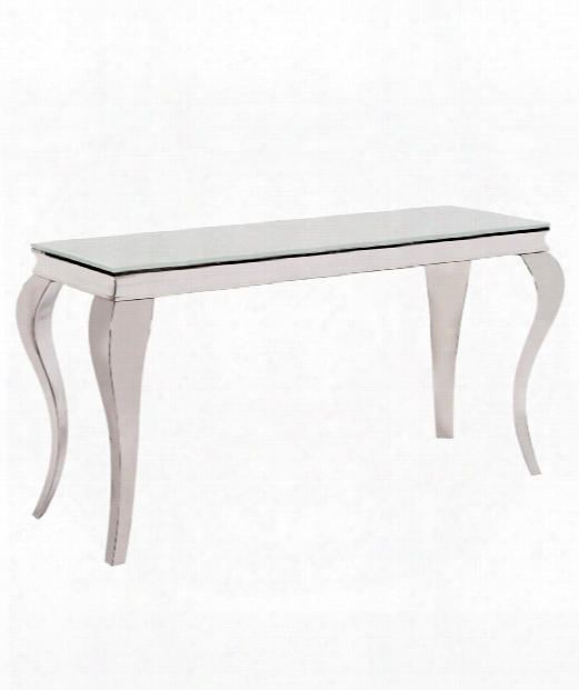 "58"" Console Table In Stainless Steel-white"