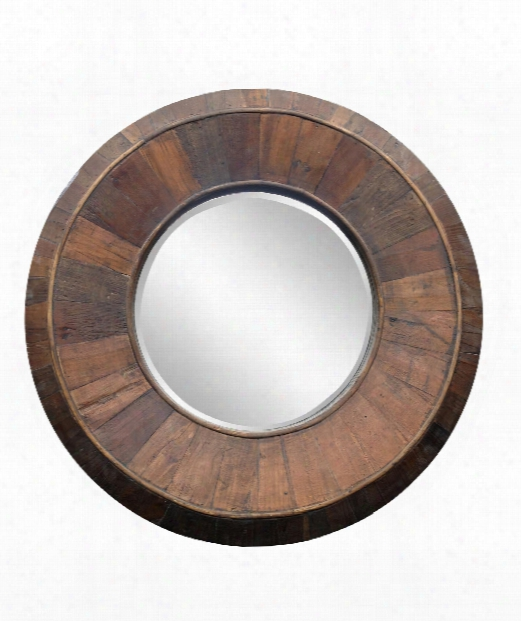 "Andrea 32"" Wall Mirror In Natural Rustic Wood"