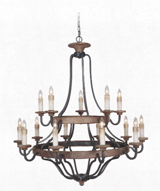 "Ashwood 44"" 15 Light Chandelier In Textured Black-whiskey Barrel"