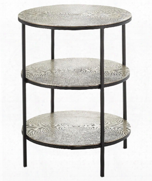 "Cane 20"" Accent Table In Black-pewter"